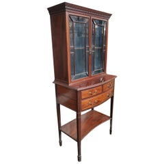 Collinson & Lock, Aesthetic Movement Mahogany Display Cabinet with Fine Handles