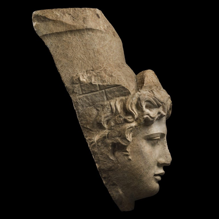 Classical Roman Collosal Roman Marble Head of Tyche 'Fortuna', 1st Century A.D., Provenance For Sale