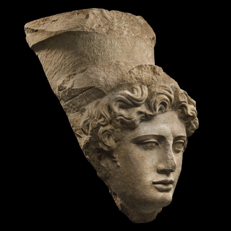 Greek Collosal Roman Marble Head of Tyche 'Fortuna', 1st Century A.D., Provenance For Sale