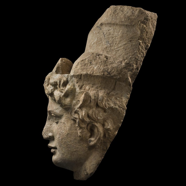 Hand-Carved Collosal Roman Marble Head of Tyche 'Fortuna', 1st Century A.D., Provenance For Sale