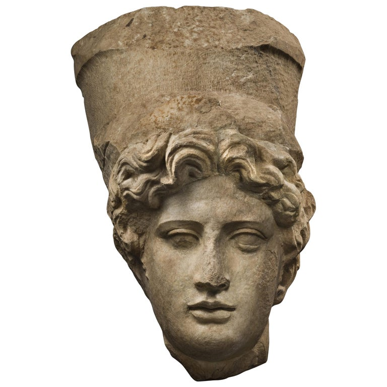 Collosal Roman Marble Head of Tyche 'Fortuna', 1st Century A.D., Provenance For Sale