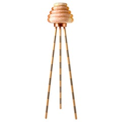 Colmena Beehive Floor Lamp Hand Blown Colored Glass Lampshade, Polished Copper