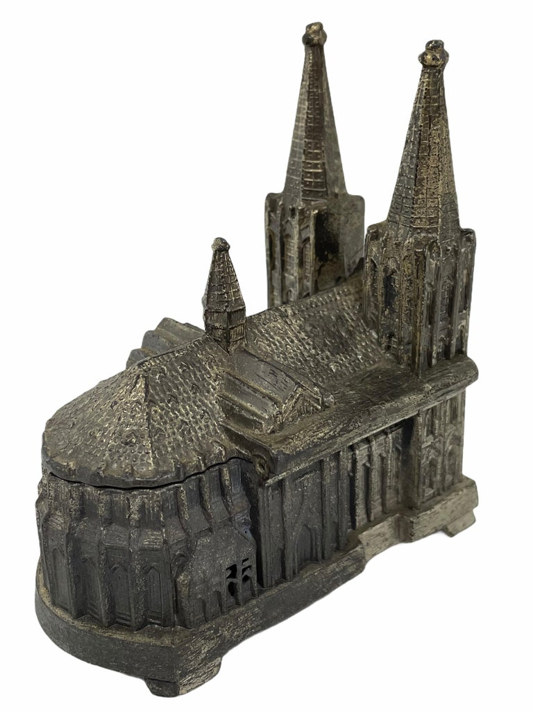 Mid-20th Century Cologne Cathedral Jewelry Trinket Box Metal, Antique German Souvenir, 1930s For Sale