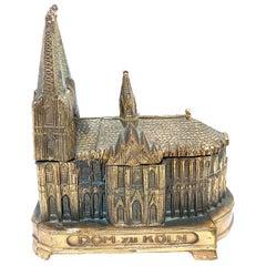 Cologne Cathedral Jewelry Trinket Box Metal, Antique German Souvenir, 1930s