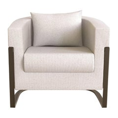 Colombia Armchair in White Bouclé Fabric
