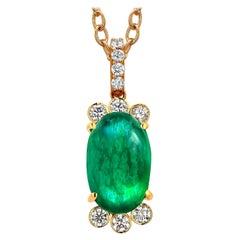 Colombia Cabochon Emerald and Diamonds 18 Karat Gold Pendant Necklace