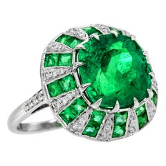 Colombia Emerald 5.89 Carat and Diamond Cocktail Ring