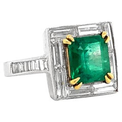 Colombian Emerald Cushion Cut 2.78 Carat Round Baguette Diamond Platinum Cocktai