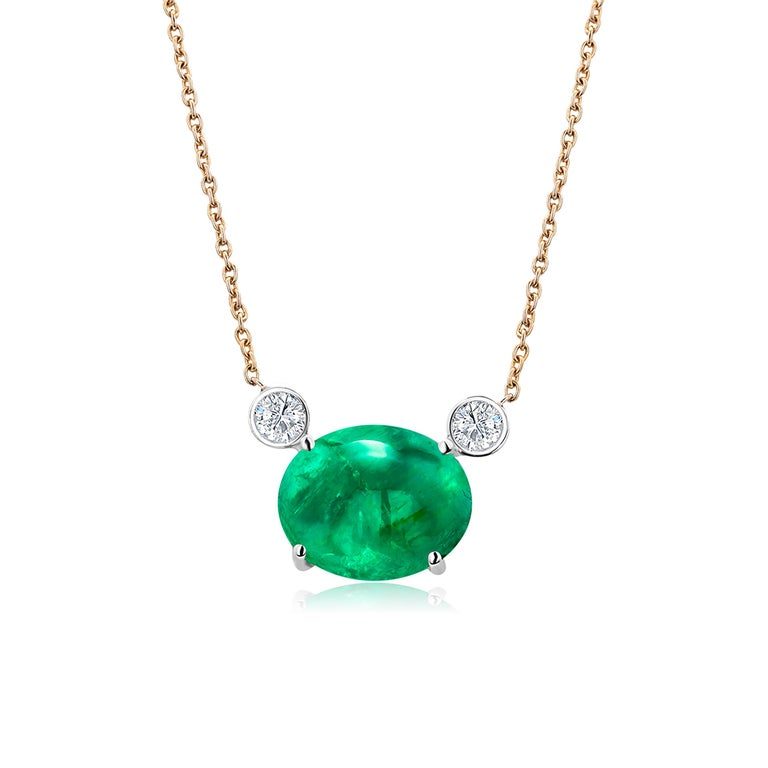 Oval Cut Colombia Green Cabochon Emerald Yellow Gold Drop Pendant Necklace For Sale