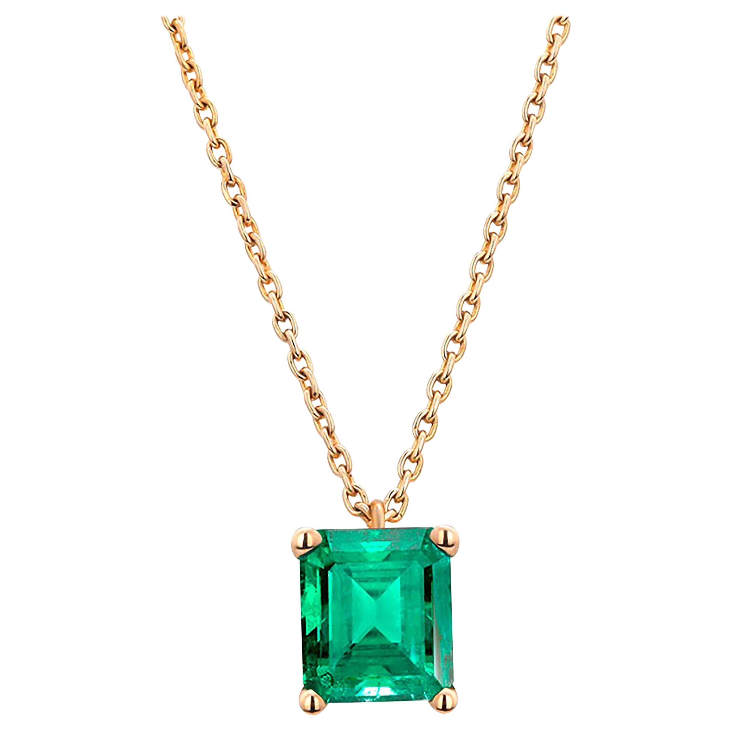 Colombia Green Emerald Yellow Gold Drop Pendant Necklace