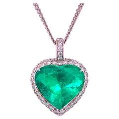 Colombian 10.39 Carat Emerald Pendant