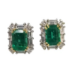 Colombian 2.03cts. Emerald-Cut Emeralds with Diamond Halo Set in 18k White Gold