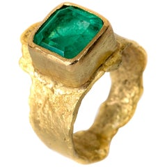 Colombian 4.4 Carat Emerald 18 Karat Textured Gold Ring Handmade by Disa Allsopp