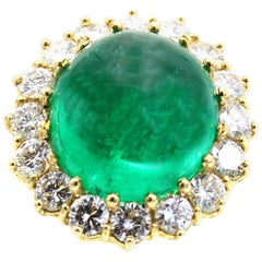 Colombian AGL Certified Cabochon Emerald Diamond Ring