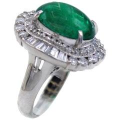 Colombian Cabochon Emerald Diamond Platinum Ring