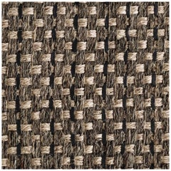 Colombian Crin Rugs, Handwoven Horsehair, Jute and Black Leather