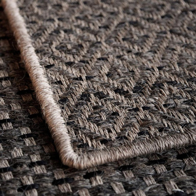 Colombian Crin Rugs, Handwoven Horsehair, Jute + Black Leather Diamonds For Sale 1