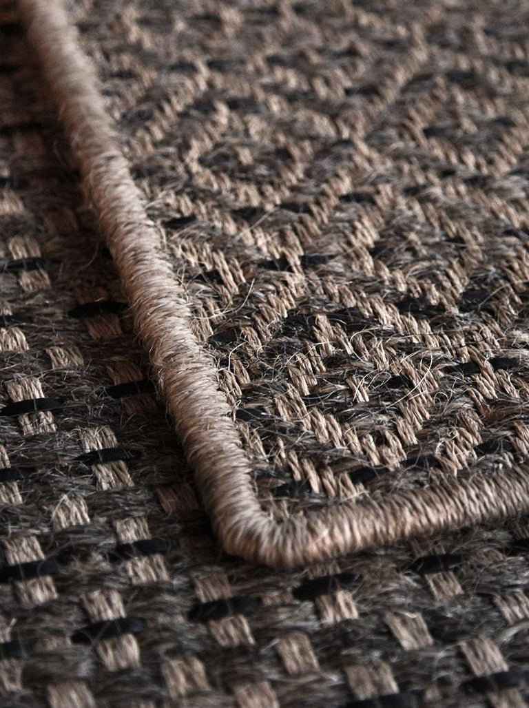 Runner in Handwoven Horsehair, Jute + Black Leather Diamonds, Colombian Crin Rug In New Condition For Sale In New York, NY