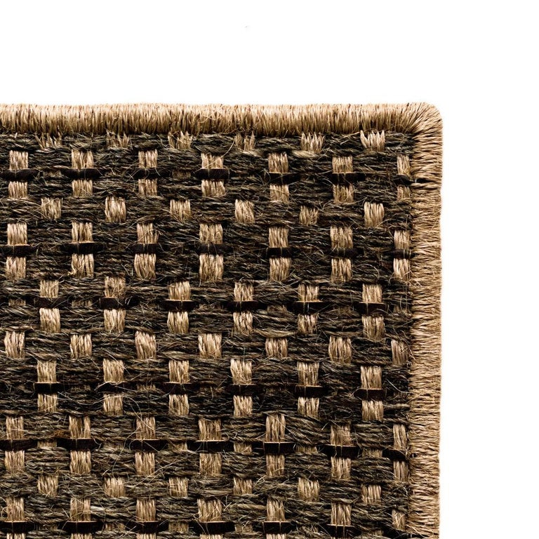 Hand-Woven Colombian Crin Rugs, Handwoven Horsehair, Jute + Coffee Leather For Sale
