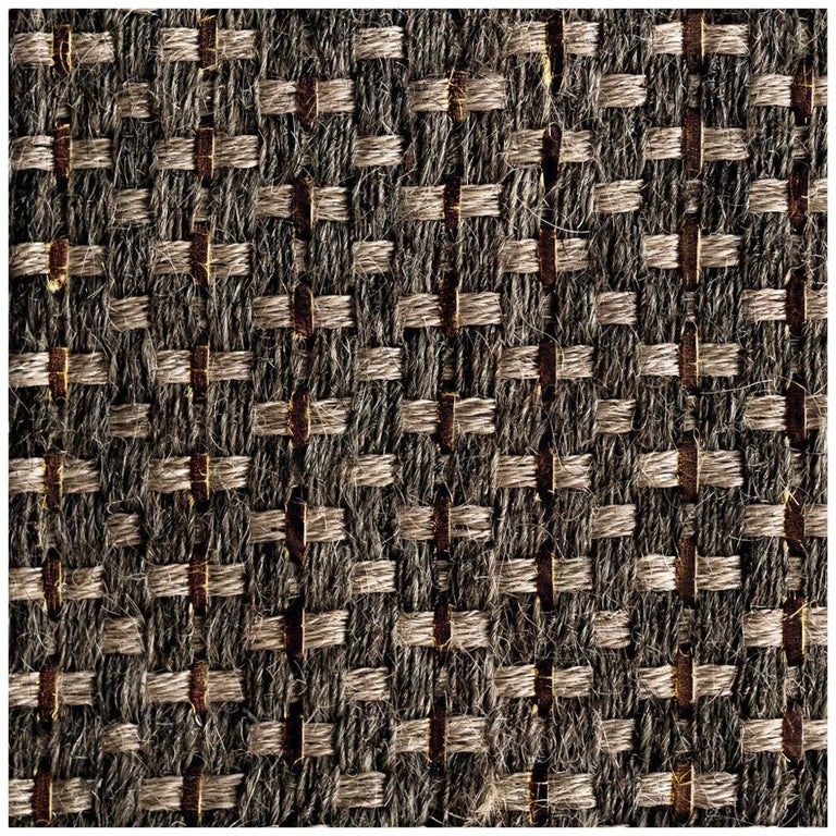 Colombian Crin Rugs, Handwoven Horsehair, Jute + Coffee Leather For Sale