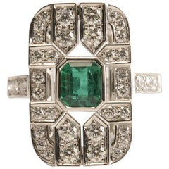 Colombian Emerald 1.28 Carat and Diamond Art Deco Tablet Ring in 18 Karat Gold