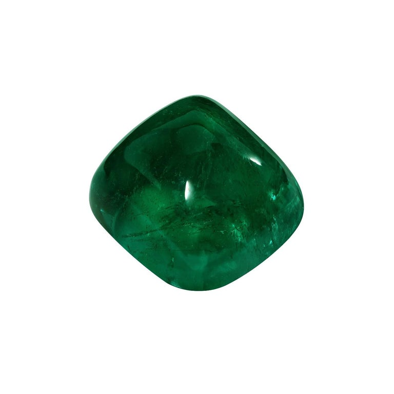 Ultra rare and exclusive, collection quality, 15.18 carat Colombian Emerald sugarloaf cabochon, offered loose to the world's most avid gem connoisseurs. This superb gem is AGL certified, with indications of only insignificant clarity enhancement.