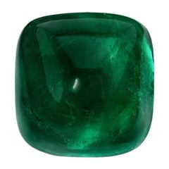 Colombian Emerald Ring Gem 15 Carat Sugarloaf Cabochon AGL Insignificant Oil