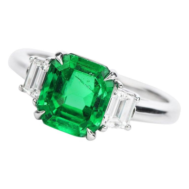Colombian Emerald AGL 2.62 Carat Diamond Platinum Engagement Ring For Sale