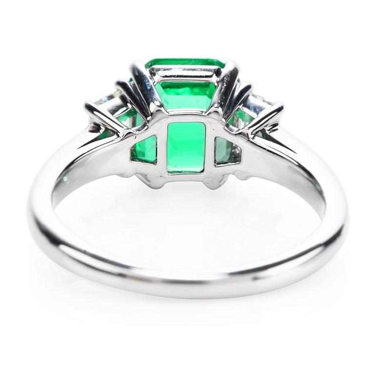 Emerald Cut Colombian Emerald AGL 2.62 Carat Diamond Platinum Engagement Ring For Sale
