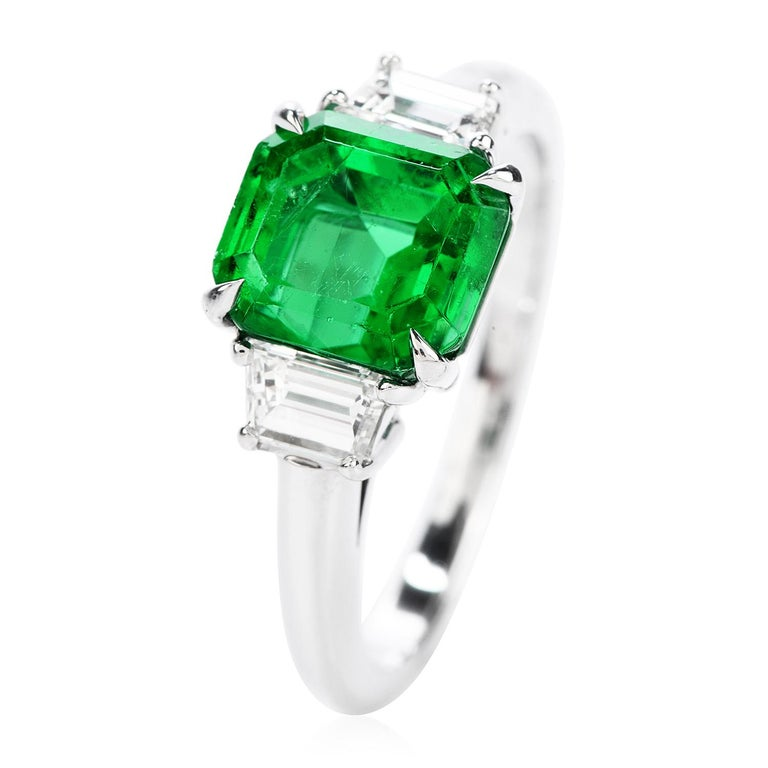 Colombian Emerald AGL 2.62 Carat Diamond Platinum Engagement Ring In Excellent Condition For Sale In Miami, FL