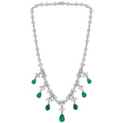 Colombian Emerald and Diamond Bridal Drop Necklace 18 Karat  White Gold