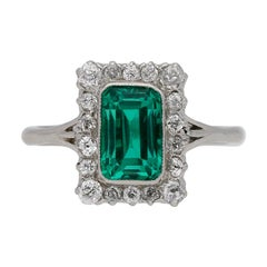 Colombian Emerald and Diamond Cluster Ring, circa 1920