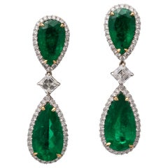 Colombian Emerald and Diamond Drop Earrings