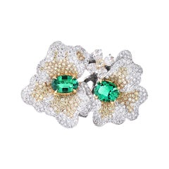 Laviere Colombian Emerald and Diamond Duo Flower Ring