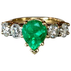Colombian Emerald and Diamond Engagement Ring 14 Karat