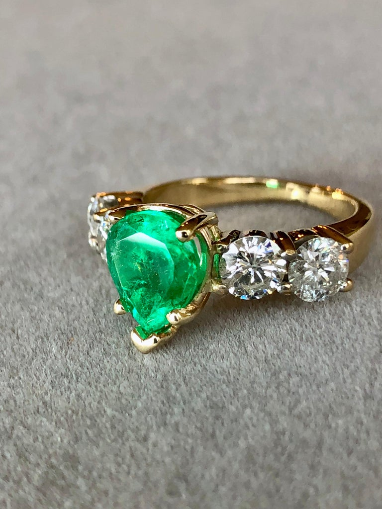 Pear Cut Colombian Emerald and Diamond Engagement Ring 14 Karat For Sale