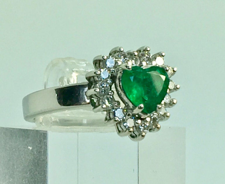Art Deco Colombian Emerald and Diamond Engagement Ring 18 Karat Gold For Sale