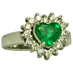 Colombian Emerald and Diamond Engagement Ring 18 Karat Gold