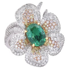 Laviere Colombian Emerald and Diamond Flower Ring