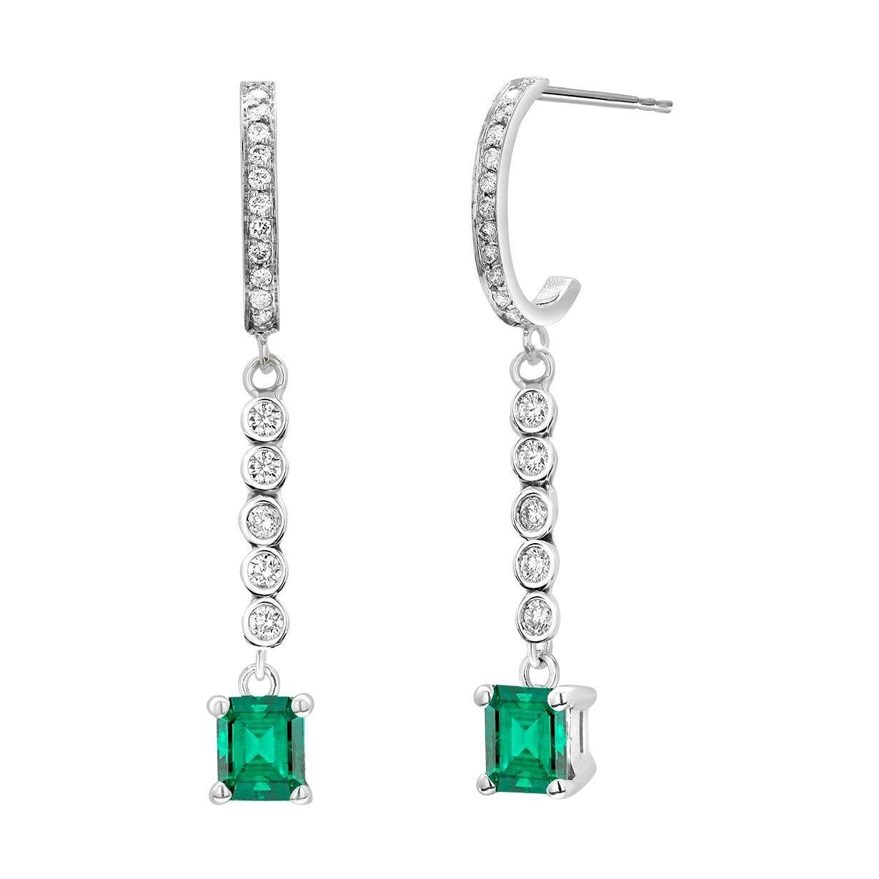 Colombian Emerald and Diamond Gold Hoop Drop Earrings