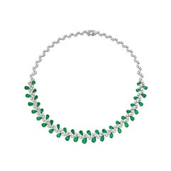 Colombian Emerald and Diamond Necklace in 18 Karat White Gold