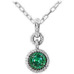 Colombian Emerald and Diamond Pendant Enhancer Bail & Matte Finish Necklace