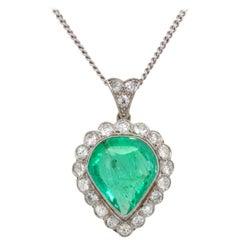 Colombian Emerald and Diamond Pendant, France, circa 1900