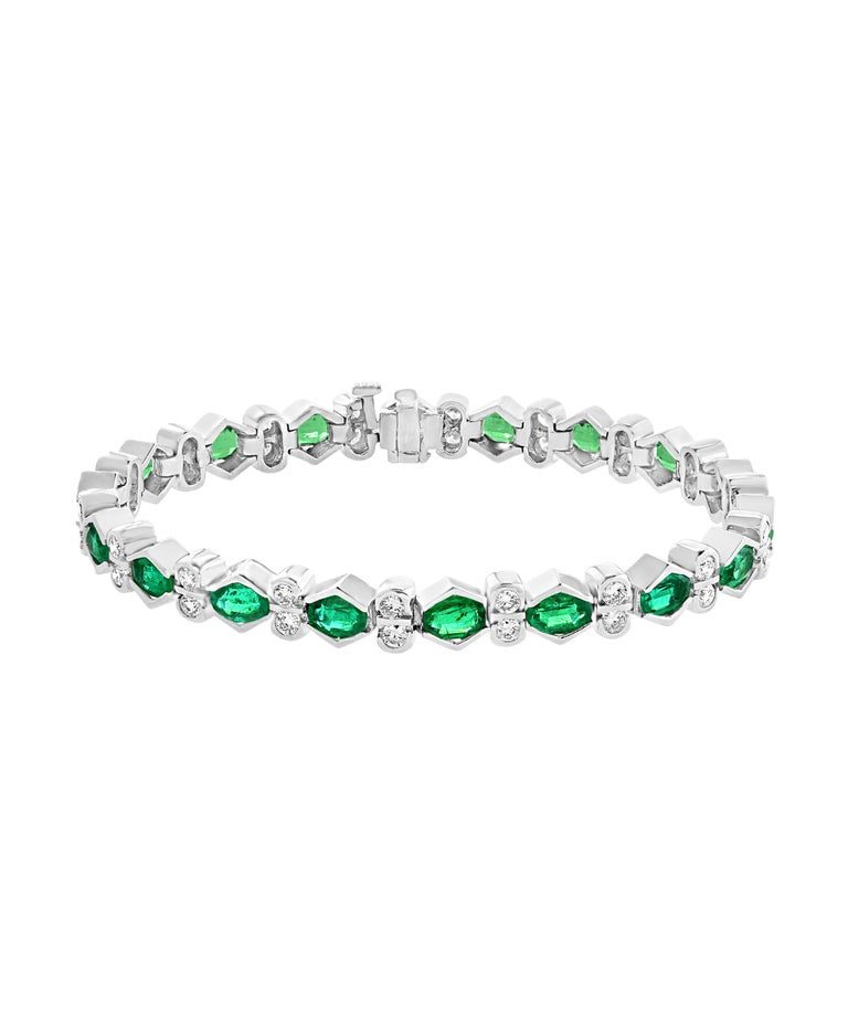 Women's Colombian Emerald and Diamond Tennis Bracelet 18 Karat White Gold, Estate For Sale