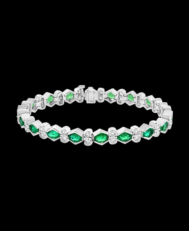 Colombian Emerald and Diamond Tennis Bracelet 18 Karat White Gold, Estate For Sale 1