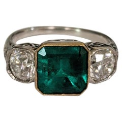 Colombian Emerald and Diamond Three-Stone Ring