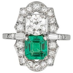 Colombian Emerald and Diamond Two-Stone Cluster Ring, American, circa 1935