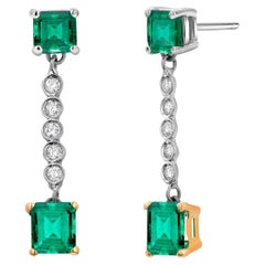 Colombian Emerald and Diamond Two-Tier Gold Drop Earrings