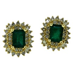Colombian Emerald and Round and Baguette Diamond Halo Stud Earrings