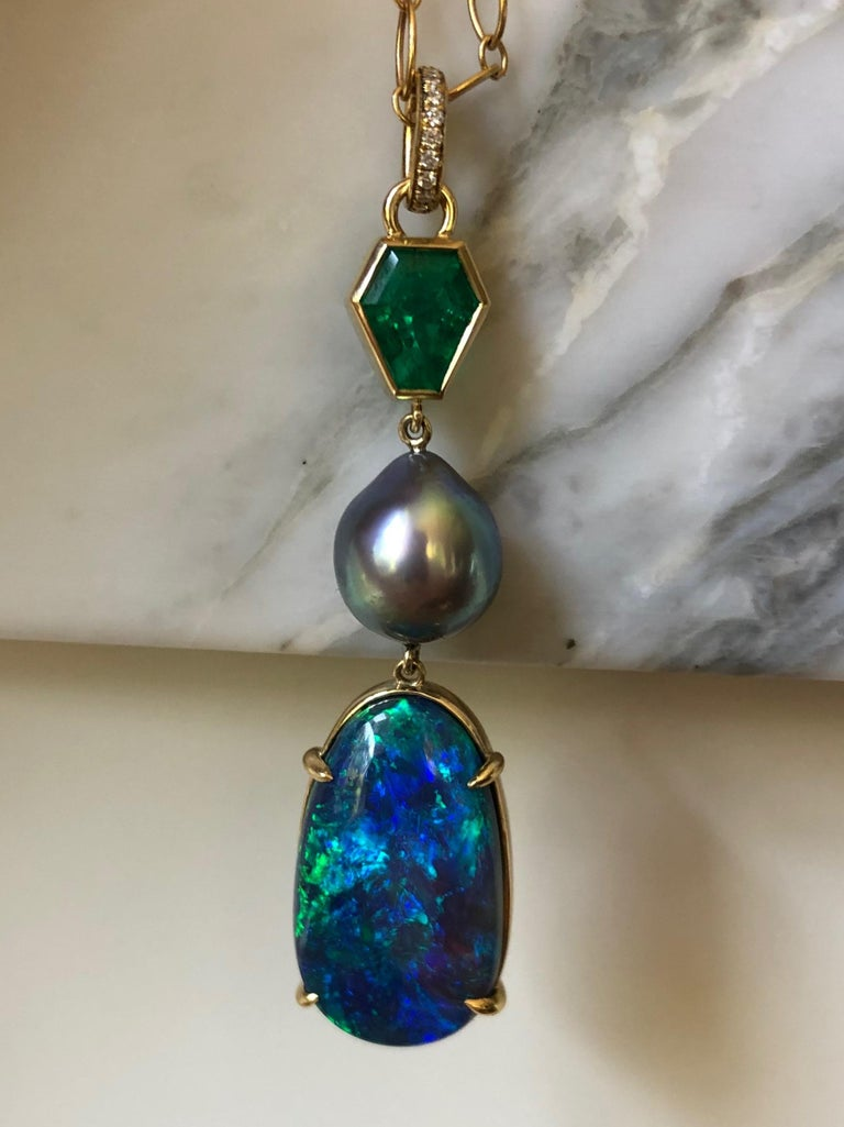 Artisan Colombian Emerald, Australian Opal and Sea of Cortez Pearl Pendant Necklace For Sale